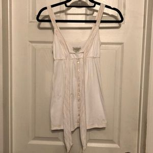 White babydoll tank with button detailing
